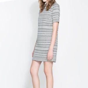Zara Black & White Shift Dress with Beaded Neck